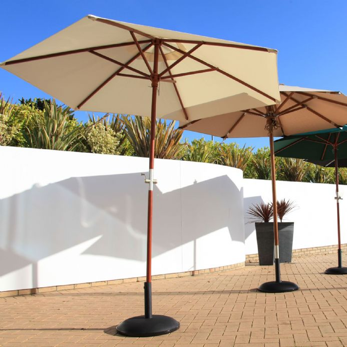 Cozy Bay® Creamy White 2.5m Crank Parasol With 38mm Wood Effect Aluminium Pole